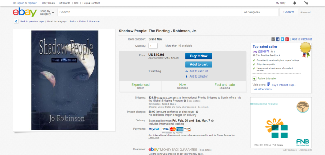 Shadow People The Finding Robinson Jo   eBay
